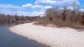 鸟瞰河和蓝天秋田县自然风景3月 49367290