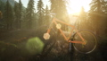 bicycle in mountain forest at sunset 49378845