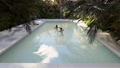 Beautiful swimming pool with bathing people, on a lost tropical island on a clear Sunny day. Looped 49560964
