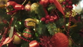 Close up of christmas balls and christmas decorations on artificial fir tree 49597375