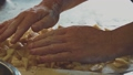 Woman Chef Baking Apple Strudel. Female Hands Spreading Apples onto Dough 49635481