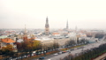 Beautiful aerial skyline panorama of Riga old town and Dome Cathedral, car traffic at Daugava river 49686133