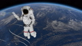 Astronaut Spacewalk, waving his hand in the open space. Elements of this image furnished by NASA. 49732052