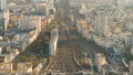 Top view of Paris skyline from above timelapse. Main landmarks of european megapolis with train 49749932