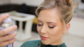Hair master sprays varnish, makes curls, blonde, beauty salon 49752828