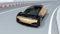 通過高速曲線的自動電動豪華轎車 49947454