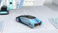 燃料電池汽車概念進入氫氣站與太陽能電池板和重新填充氫氣 49947459