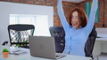 Excited business woman enjoy good news seen on laptop screen in office 49977931