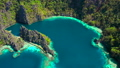 Aerial view Tropical lagoon with azure water with sailing boats near Kayangan and Barracuda Lake 50073736