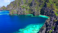 Aerial view Tropical lagoon with azure water and high mountain limestone formation. Coron, Busuanga 50073740