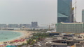 Aerial view of beach and tourists walking and sunbathing on holiday in JBR timelapse in Dubai, UAE 50079139