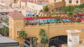 Aerial view of beach and tourists walking and sunbathing on holiday in JBR timelapse in Dubai, UAE 50079146