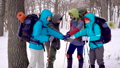 Happy and motivated group of hikers putting their hands together in the middle of a winter forest 50335457