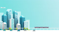 Smart city animation with car , train , building  50377947