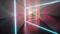 Fluorescent ultraviolet light, glowing neon lines, moving forward inside tunnel, blue pink spectrum 50382388