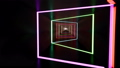 Fluorescent ultraviolet light, glowing neon lines, moving forward inside tunnel, blue pink spectrum 50382389