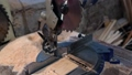 Circular saw. Industrial hand circular saw. saw at work 50449375