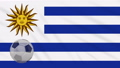 Flag of Uruguay and soccer ball rotates against 50485716
