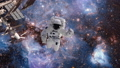 astronaut in outer space against the background of a galaxy and a cluster of stars. The cosmanaut 50493789
