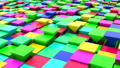 3D animation of abstract floating triangles in bright colors. 50584597