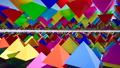 3D animation of abstract floating triangles in bright colors. 50588309