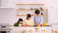 Parent and child cooking kitchen dinner family image 50649539