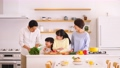 Parent and child cooking kitchen dinner family image 50649542