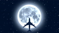 Passenger airplane over moon in starry night 50700534