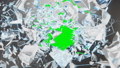 Abstract broken glass into pieces. Wall of glass shatters into small pieces. Place for your banner 50705582