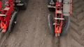 close-up, tractor with special precision planters, seeder is working in the field, agricultural 50733121