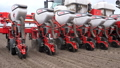 close-up, tractor with special precision planters, seeder is working in the field, agricultural 50733779