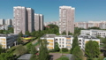 The Cityscape in Moscow from above, Residential buildings, school and kindergarten. Russia 50846990