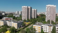 The Cityscape in Moscow from above, Residential buildings, school and kindergarten. Russia 50846995
