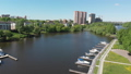 The Cityscape of Khimki city and yacht parking on the river. Russia 50854418