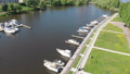 Yacht parking on the river and Khimki city. Russia 50854419