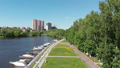 The Cityscape of Khimki city and yacht parking on the river. Russia 50854420