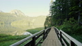 Walk on wooden bridge near lake 50958088