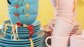 Kitchen table is full of dirty dishes 52199227