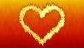 ハート型に沿って燃える炎 赤色背景 52897006