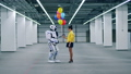 One girl gifts lots of colorful balloons to her friend droid. 53190999