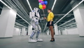 A girl gifting colorful balloons to her friend robot. 53192142