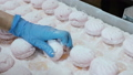 Hand in a blue glove glues, connects the halves of pink and white marshmallow on a vibrating 53221537