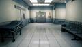 Empty hospital endless corridor. Empty corridor of the clinic. A long endless hallway with doors 53235730