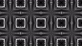 black and white animated pattern. Abstract moving kaleidoscope. 3d rendering 53605023