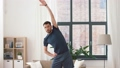 man exercising and leaning at home 53626011