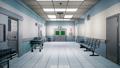 Empty hospital endless corridor. Empty corridor of the clinic. A long endless hallway with doors 53647136