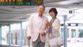 Senior couple travel station train tourist image photography cooperation: Keio Electric Railway Co., Ltd. 53695455