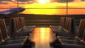 Airplane departure against scenic sunset seen through departure lounge windows 53935292