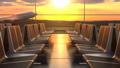 Passenger airplane landing against sunset as seen through departure hall windows 53979740