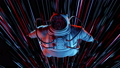 Epic Person Spaceman in the Space Suit Looking Around in Wonder Stars 53981220